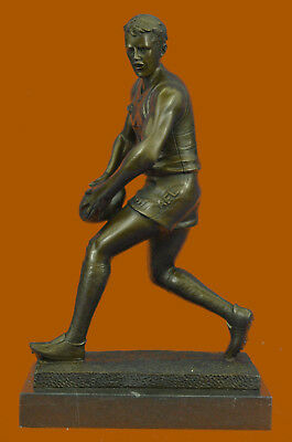 College Coach Rugby Football Player Athlete Bronze Marble Statue Award Art Gift