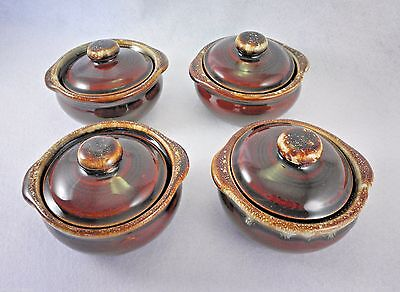 Monmouth Western  Maple Leaf Brown Drip Glazed Pottery Lidded Bowls Set 4