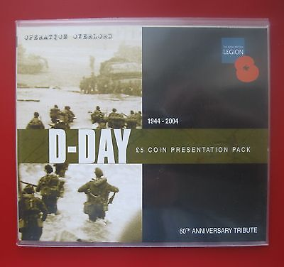 GUERNSEY 2004 D-DAY ANNNIVERSARY £5 coin IN PRESENTATION FOLDER (five pounds)