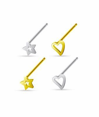Lot of 4 Value Pack 925 Sterling Silver Nose Bone Ring Heart, Star 20G