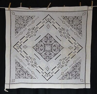 lace embroidered drawn cotton table square antique original very good