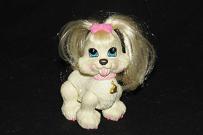 Fisher Price Snap 'N Style Ginger White Puppy Dog Shih Tzu Pink Bow Figure Toy