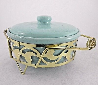 Bauer Pottery Covered Casserole with metal carry rack Aqua Turquoise Speckle