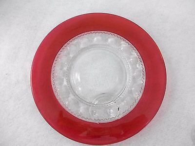 Kings Crown Glass Snack Plates thumbprint cranberry red flashing Indiana Pair