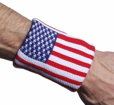 Unique Sports Tourna USA American Flag Cotton Wristbands Wrist Sweatbands 2-Pack