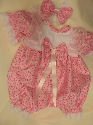 Dream Baby Pink Ditsy Floral  Bubble Romper &hbd Nb 0-3 3-6 Months Or Reborn