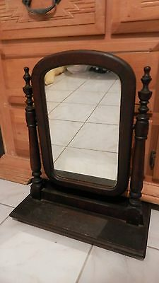 LOVELY Antique Shaving Mirror Dark Wood Table Top dresser Vanity Frame Old Large
