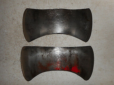 2 Vintage Double Bit Axe Heads Woodsman Firewood Cutting Tool Log Cabin Shed