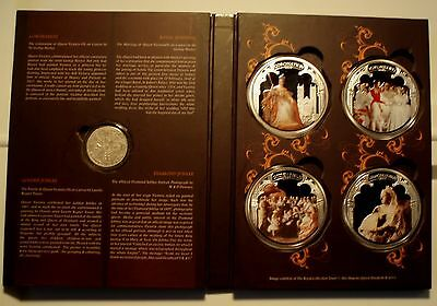 GB QUEEN VICTORIA DOUBLE FLORIN 1889 Silver & 4 BU Colored Silver Plated Medals.