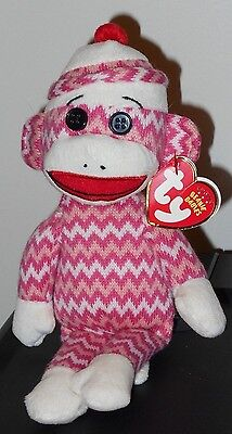 CT* Ty Beanie Baby ~ SOCK MONKEY (Pink & White Zig-Zag) ~ NEW with CREASED TAG