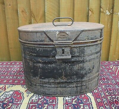 Antique Edwardian Tin Hat Box ~ Great For Storage~Prop~Display~ Rustic Chic