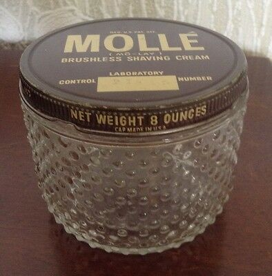 Glass Mollé Shaving Cream Hobnail Jar, 8 ounces, Centaur Co. Sterling Drug Inc.