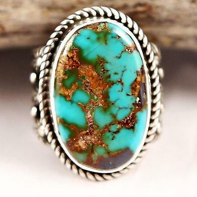 """Albert  Jake """"Divine Earth"""" Turquoise RING Sterling Silver Native American 8"""