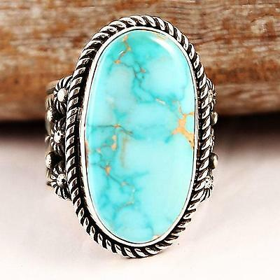 Albert  Jake Blue Boy Royston Turquoise RING Sterling Silver Native American 9