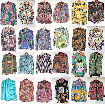 Wholesale 50 x Vintage Womens Crazy Jazzy Long Sleeve Shirts Joblot PHOTOS
