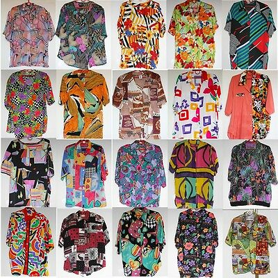 Wholesale 50 x Vintage Womens Crazy Jazzy Short Sleeve Shirts Joblot PHOTOS