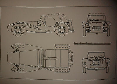 A1 plan drawing of a Lotus 7 Seven