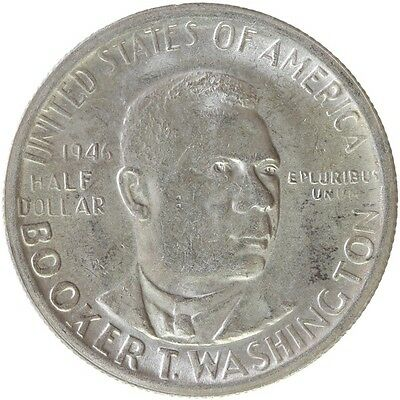 U43] USA, 1946 Half Dollar 1/2 $ Booker T. Washington Silber