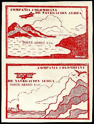 1920 - Colombia - Private Air Company 10C Brick-Red Pair, Unused