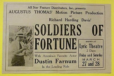 Vintage MOTION PICTURE MOVIE FLYER Ad SOLDIERS of FORTUNE Actor Dustin Farnum