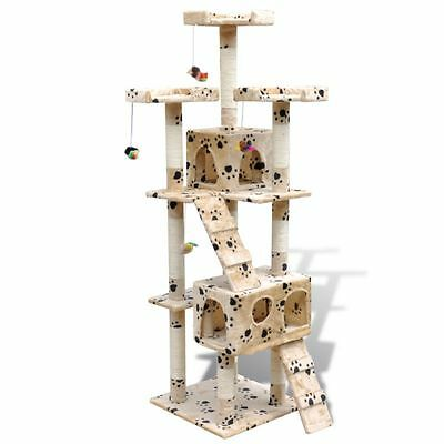 Arbre à chat 170 cm en beige avec motif d'empreinte de patte2 niches NEUF