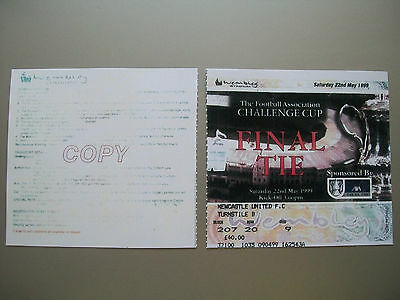 1999 F.A. Cup Final Ticket Manchester United v Newcastle United mint condition