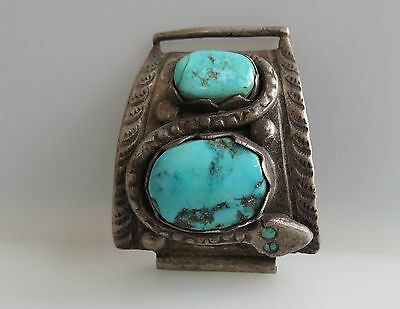 1  old 1960s era sterling silver snake turquoise watch band Navajo repur pendant