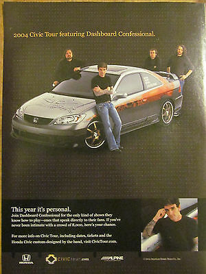 Dashboard Confessional, Honda Civic, Full Page Promotional Ad