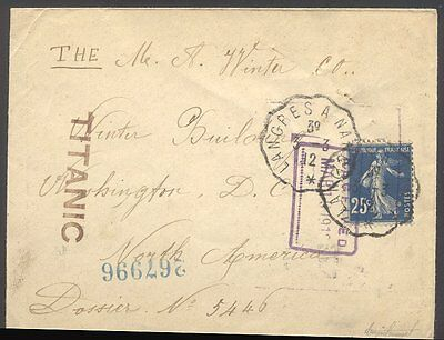 "Envelope Intended for and Stamped ""TITANIC"" w/Cert"