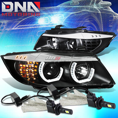 Black Halo Projector Headlight+Corner+6000K White Led System Fit 06-08 Bmw E90