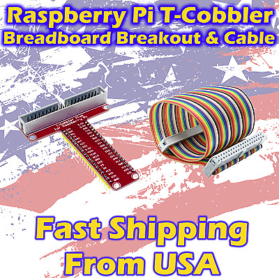 T GPIO Breakout Expansion Board +40Pin Cable DIY Kit For Raspberry Pi B+ 3 2