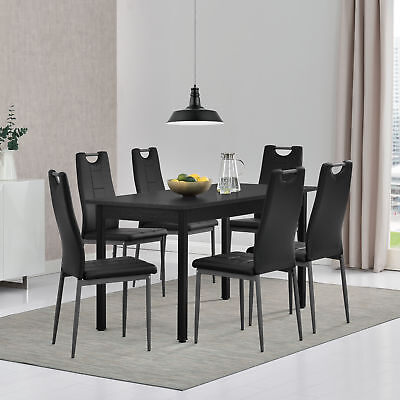 [en.casa] Dining Table with 6 Chairs Black 140x60cm Kitchen Handle