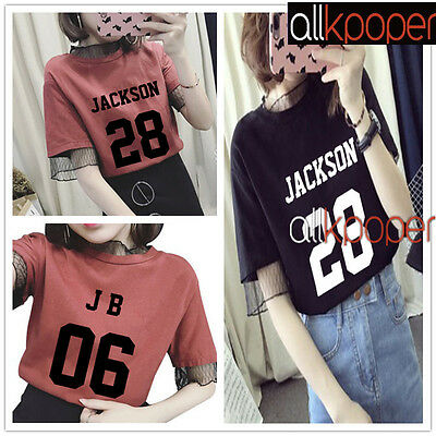KPOP GOT7 Lace T-shirt Jackson Tshirt Bambam Unisex Cotton JB Short Sleeve JR
