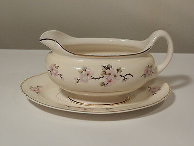 Homer Laughlin Apple Blossom Gravy Boat With Underplate N1670 Appears Unused