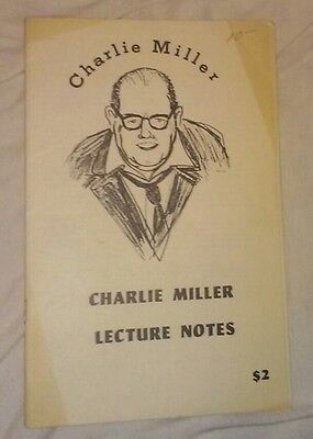 CHARLIE MILLER MAGIC LECTURE NOTES BOOKLET - CARD ROPE RING BILL Dai Vernon