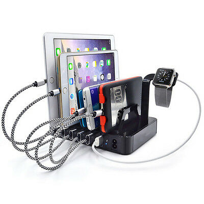 6-Port USB HUB 2.4Ah Fast Charging Dock Station Charger Stand For iPhone Tablet