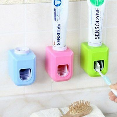 Automatic Toothpaste Dispenser Toothbrush Holder Wall Adhensive Home Bathroom