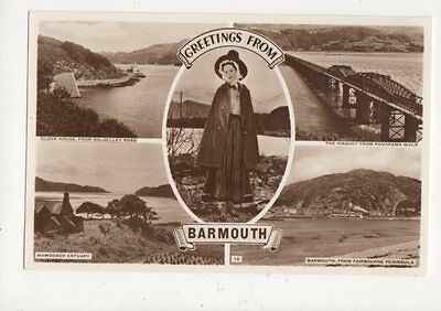 Greetings From Barmouth Vintage RP Postcard Welsh Lady 648a