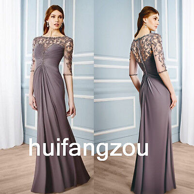 Formal Mother Of the Bride Dresses Gowns Lace Custom Made New Grey Half Sleeves