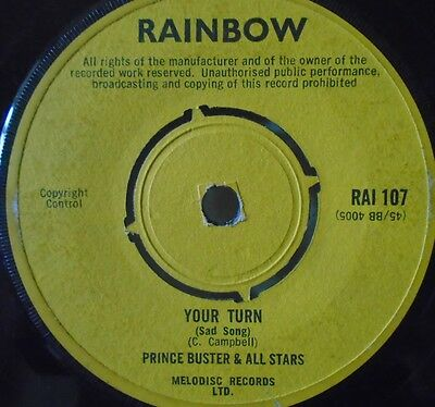 """PRINCE BUSTER & ALL STARS - Your Turn ~ 7"""" Single"""