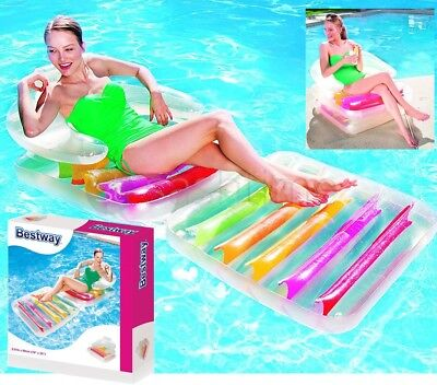 Bestway Inflatable Lilo Swimming Pool Air Lounge Designer Fashion Chair Lounger