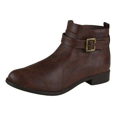 Lisanne Comfort Ladies Ankle Boots Dark Brown Side Buckle