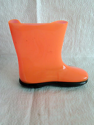 infants retro vintage wellington boots from 1960s 1970s in orange size 4