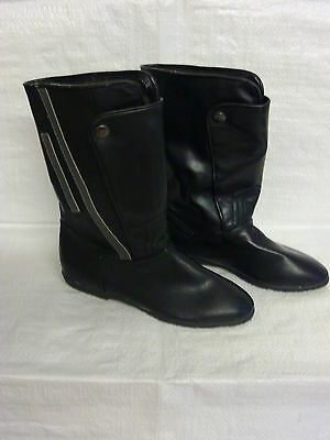 Childrens retro vintage boots from 1960s 1970s era black grey stripe size 13