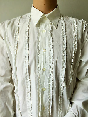 River Island White Vintage Frilled Dress Tuxedo Shirt Formal 50in X 17in XXL