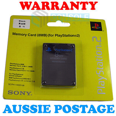 PS2 8MB MEMORY CARD - - Genuine Sony - - New Sealed Pack - - Black