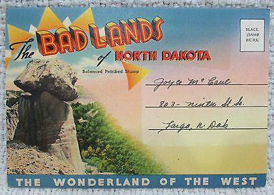 Old 1920's Badlands of North Dakota Antique Foldout Postcard FREE S/H