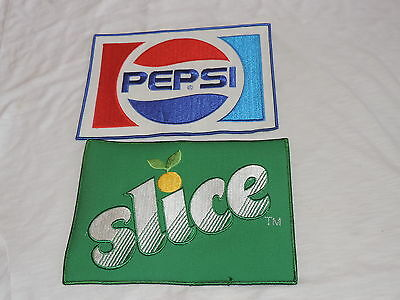"Old 8"" Cloth Patch Pepsi & Slice Soda Advertising Unused New Old Stock Patches"