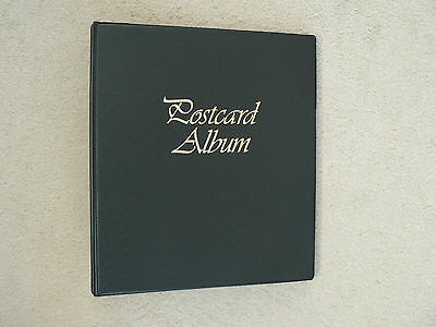 "Postcard Album, Black, 2 ring Binder, 9"" x 8"", Empty, No Sleeves or cards"