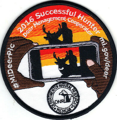 2016 Michigan Dnr Successful Deer Hunter Patch -Bear-Turkey-Elk-Moose-Fishing